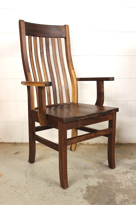"Solid Walnut ""Mission"" Arm Chair"