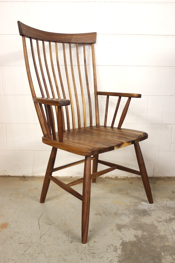"Solid Walnut ""Monteplier"" Arm Chair"
