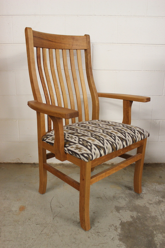 "Solid Cherry ""Deluxe Mission"" Arm Chair with Fabric"