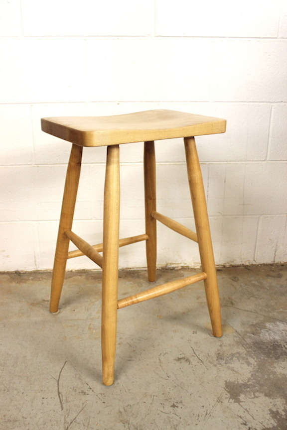 "Solid Maple ""Lo Mission"" Stool with Turned Leg"