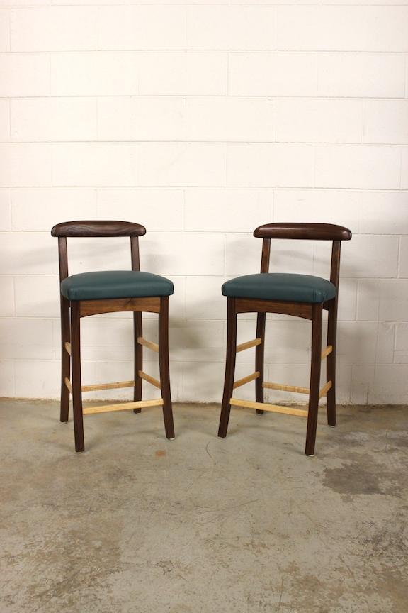 One-Of-A-Kinds: Walnut & Leather Barstools