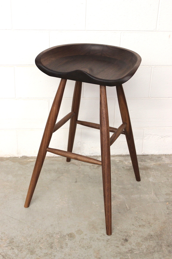 Solid Walnut Tractor Stool
