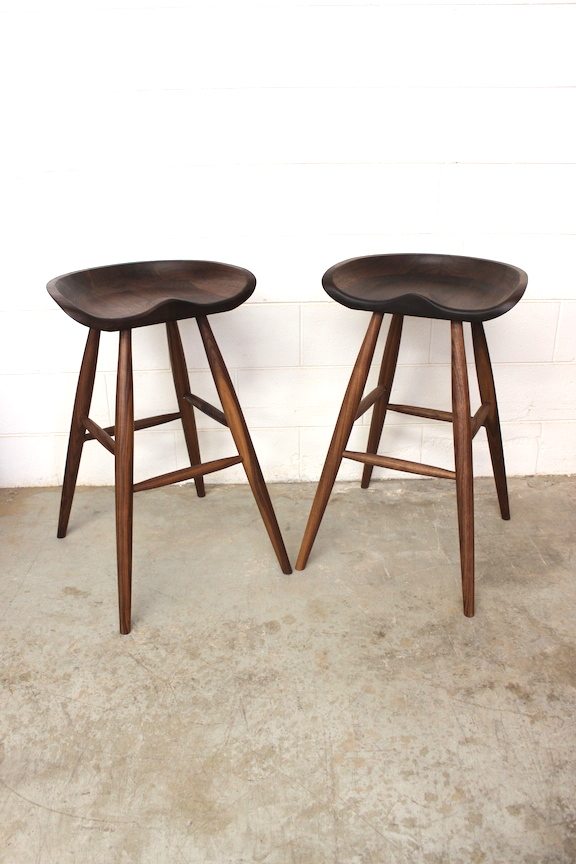 "Solid Walnut ""Flatiron"" Backless Stools"
