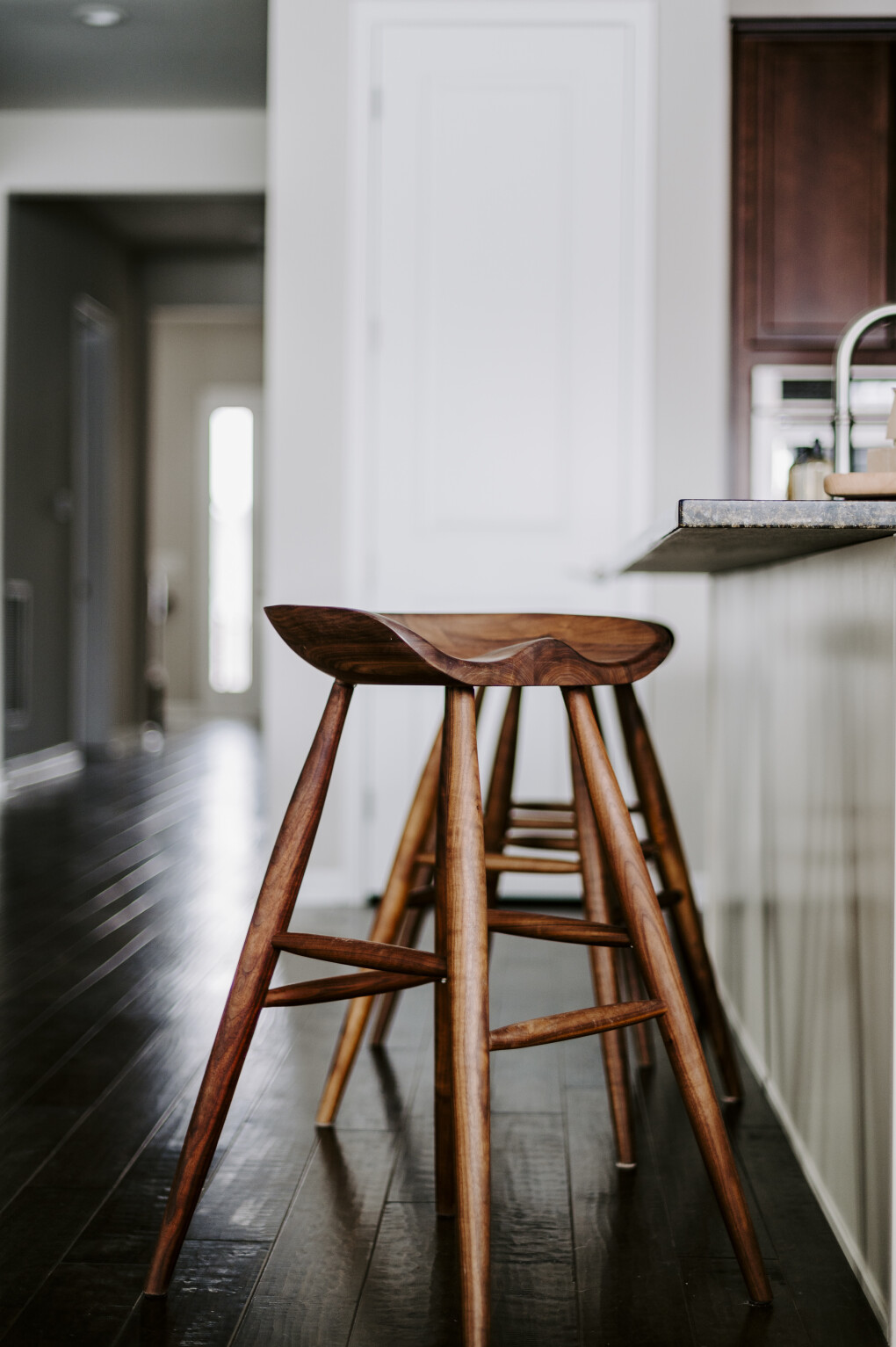 "Solid Walnut ""Flatiron"" Backless Stools - 30"""