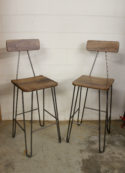 "Solid Walnut ""Flatiron"" Hairpin Stools - 30"""