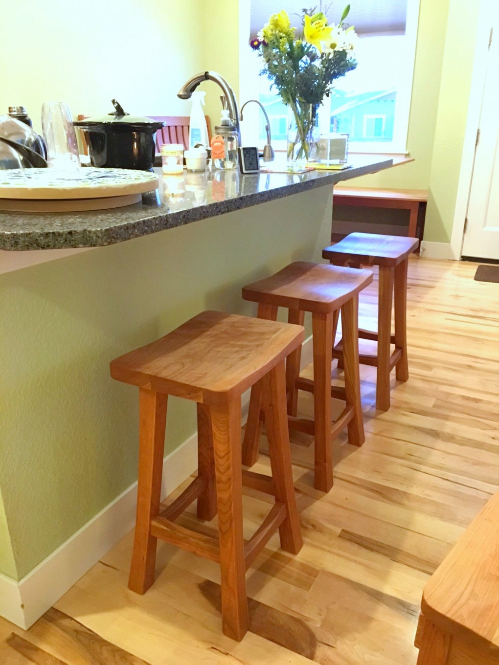 "Solid Cherry ""Lo Mission"" Backless Stools - 24"""