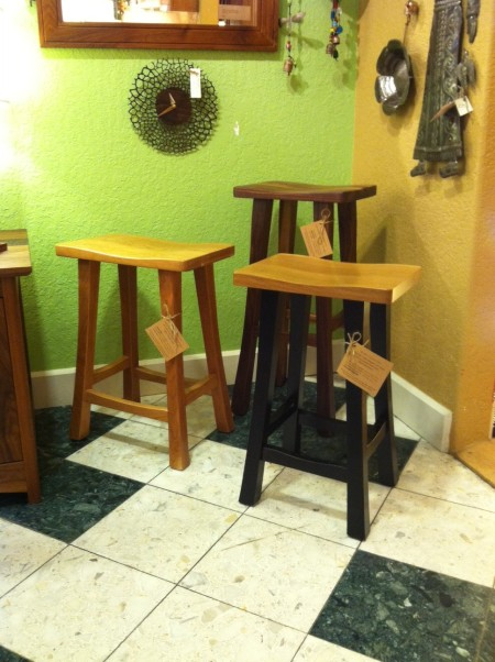 """Solid Hardwood """"Lo Mission"""" Backless Stools - 24"""" and 30"""""""