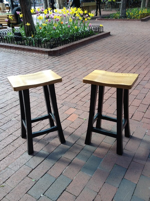 "Solid White Oak (Ebonized) ""Plain Mission"" Backless Stools - 24"""