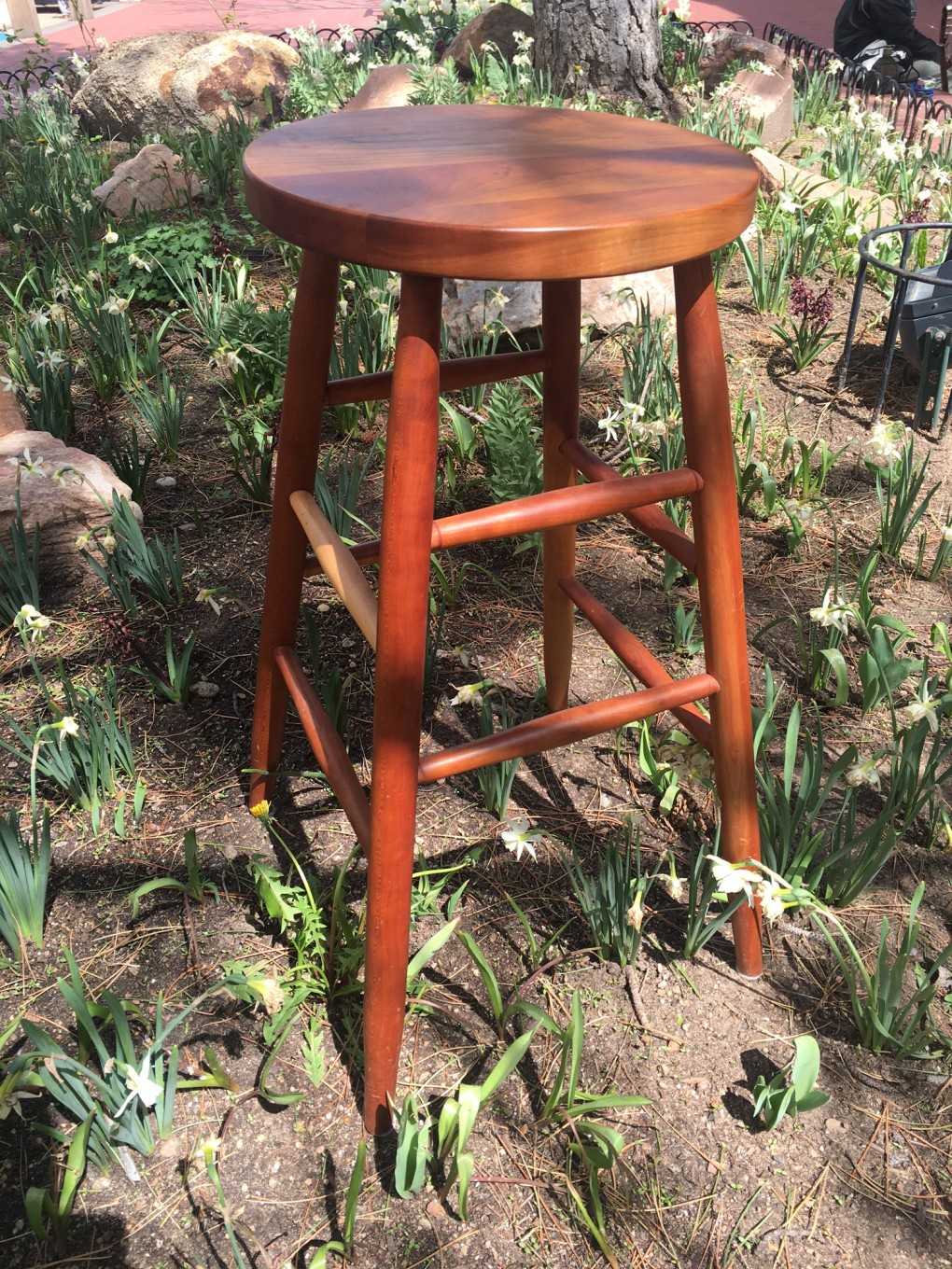 "Solid Cherry ""Plain Round"" Stool - 30"""