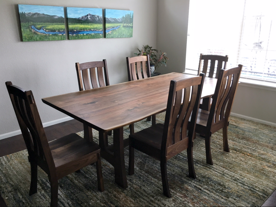 "Solid Walnut ""Craftsman"" Chairs"
