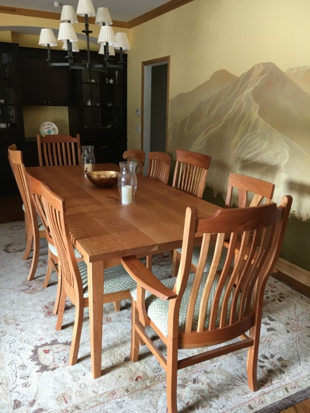 "Solid Cherry ""Empire"", ""Laurel"", ""Hawthorn"", ""Mapleton"" and ""Deluxe Mission"" Chairs with Upholstery"