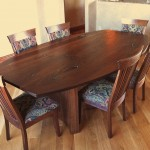 """Solid Walnut """"Bow"""" Dining Table with Turquoise Inlay"""