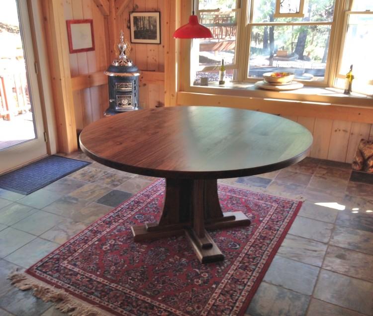 """Solid Walnut """"Craftsman"""" Round Pedestal Table"""