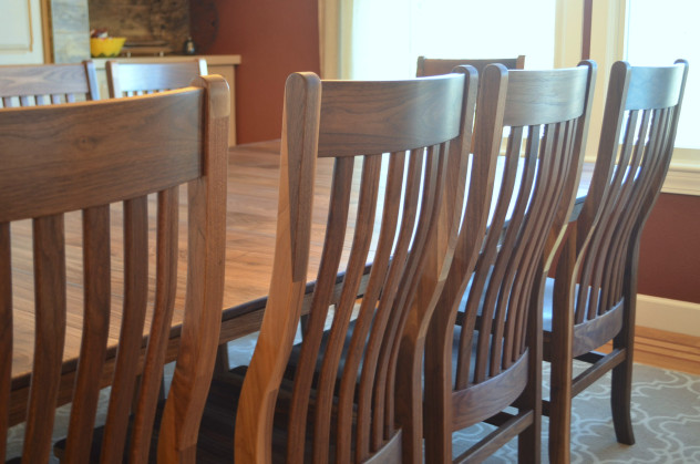 "Solid Walnut ""Mission"" Chairs & Bench"