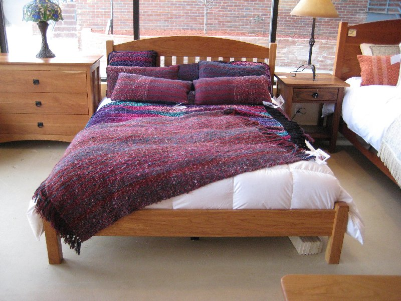 "Solid Cherry ""Slat Arch"" Queen Bed with Low-Profile Foot"
