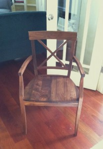 "Solid Walnut ""LaCroix"" Arm Chair"