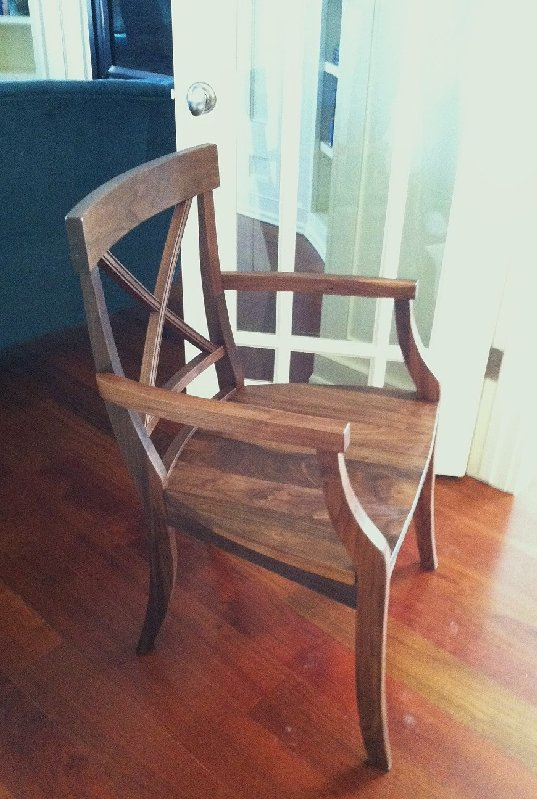 "Walnut ""LaCroix"" Arm Chair"