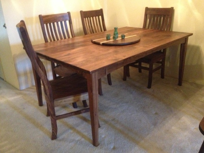 "Solid Walnut ""Prairie"" Table with Integrated Lazy Susan"