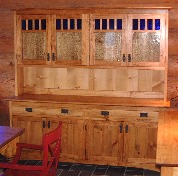 "Knotty Pine ""Craftsman"" Four-Door Hutch"