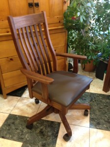 "Solid Walnut ""Mission"" Desk Chair with Black Leather"