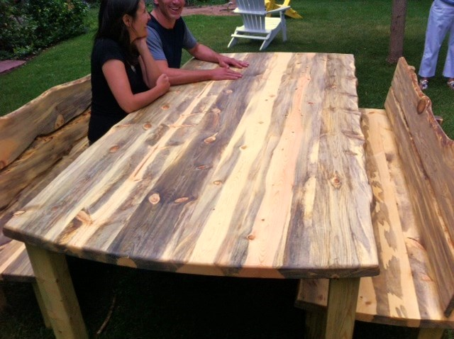 table outdoor rustic 4 leg 8 top blue pine boulder furniture arts rh boulderfurniturearts com outdoor pine furniture treatment pine outdoor furniture melbourne