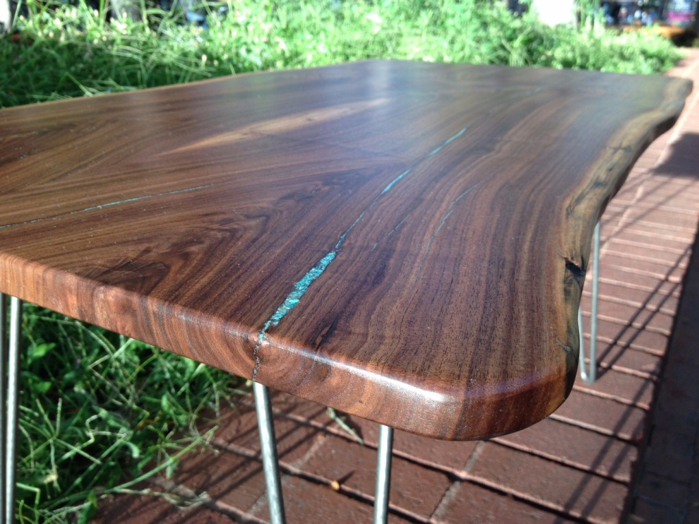 "Walnut ""LiveEdge"" Coffee Table with Hairpin Legs & Turquoise Inlay"