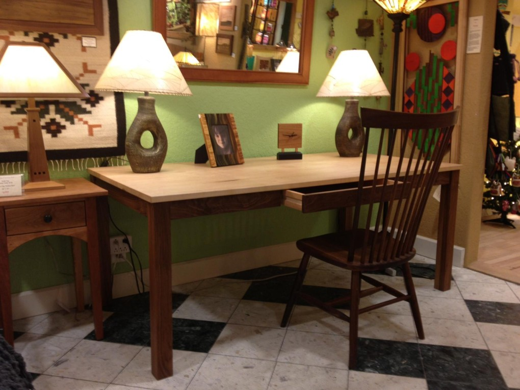 "Walnut & Maple ""Flatiron"" Writing Desk"