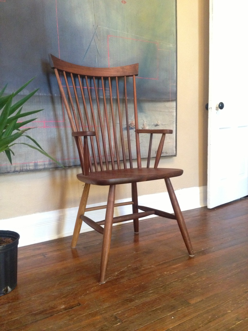 "Solid Walnut ""Combback"" Arm Chair"