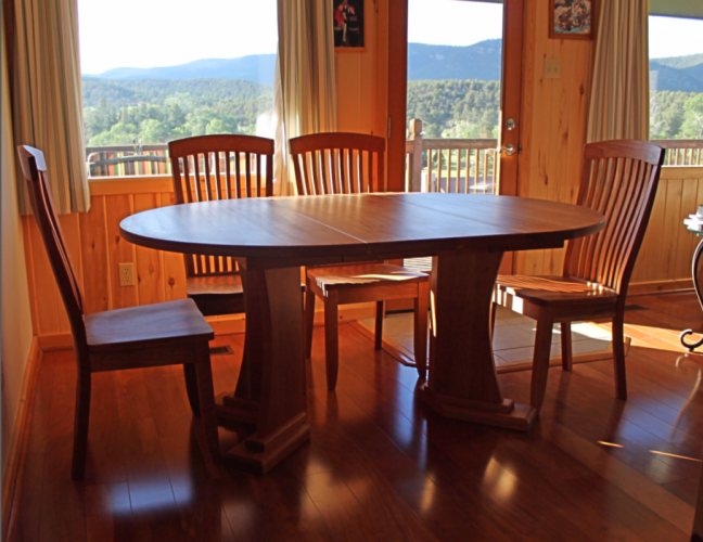 "Solid Cherry ""Craftsman"" Pedestal Table with Leaf"