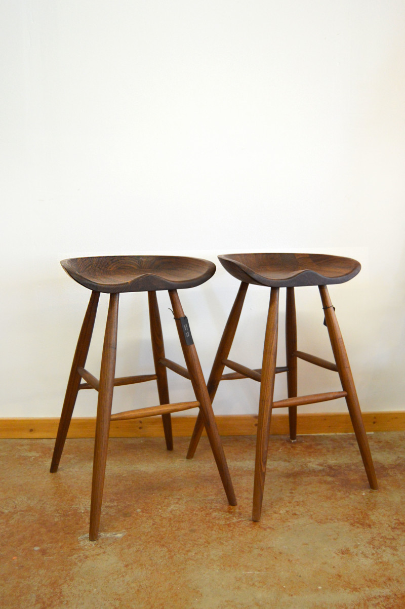 "Solid Walnut ""Flatiron"" Backless Stools – 30″ - 440ea."