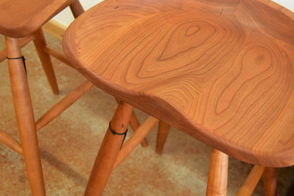 "Solid Cherry ""Flatiron"" Backless Stool – 30″ - 460ea."
