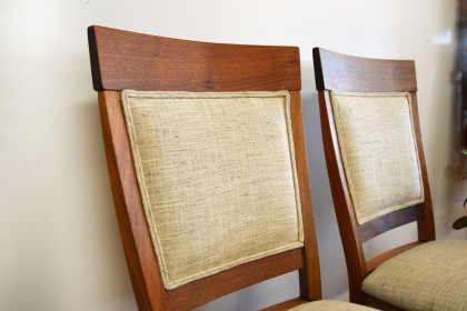 "Solid Walnut ""Whittier"" Chairs with Fabric Upholstery"