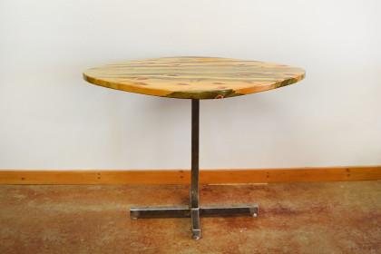 Solid Beetlekill Table with Steel Base and Epoxy Finish