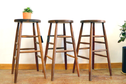 "Solid Walnut ""Round"" Backless Stool - 30"""