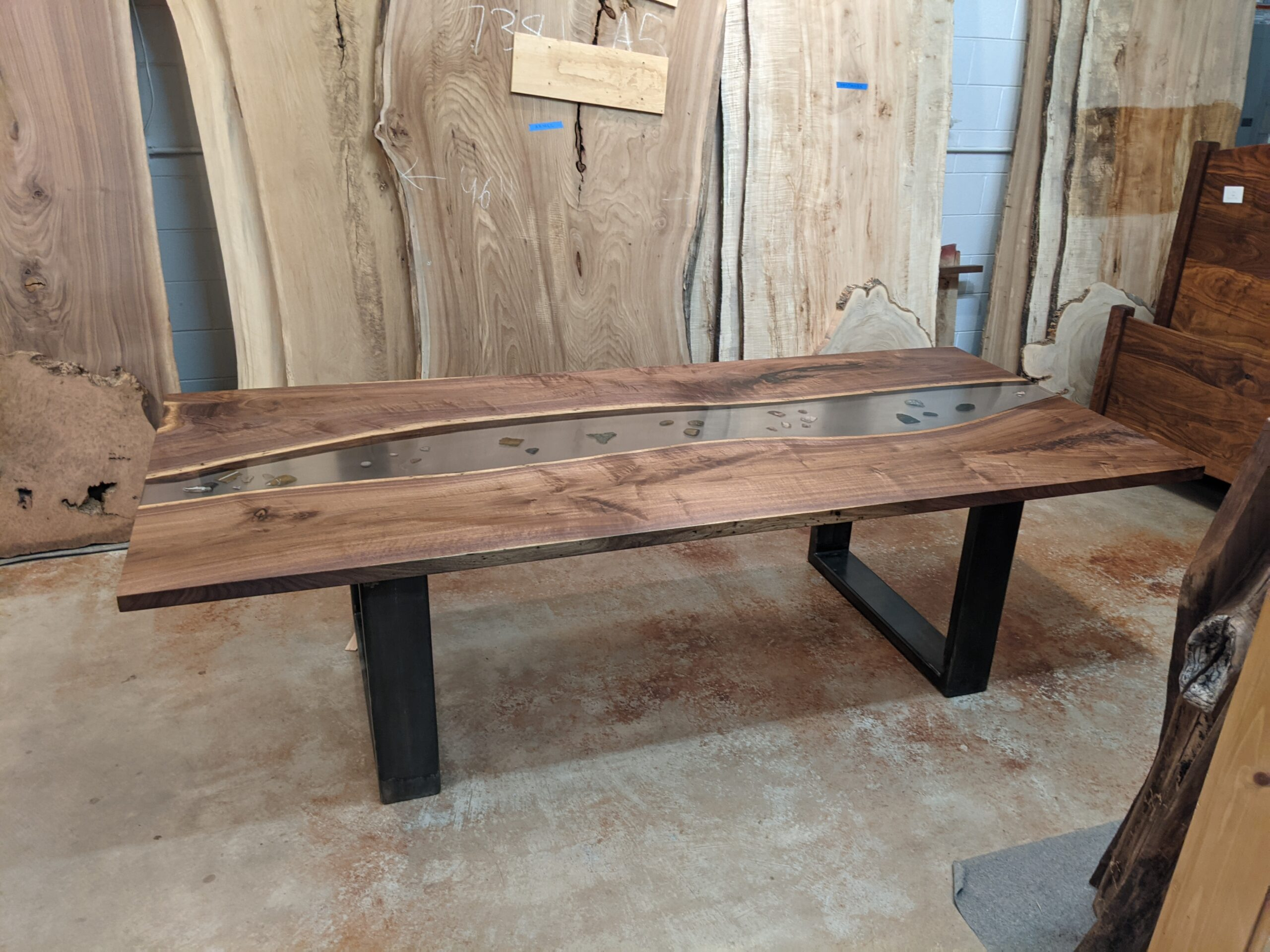 "Custom Solid Walnut LiveEdge ""River"" Epoxy Inlay Table on XL Steel U-Shape Legs"