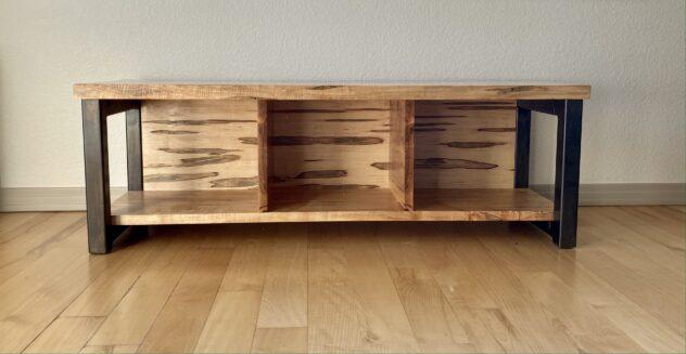 """Solid Ambrosia Maple """"Flatiron"""" LP Record Cabinet"""
